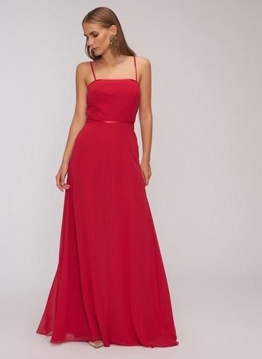 People By Fabrika Şifon Abiye Elbise Kırmızı